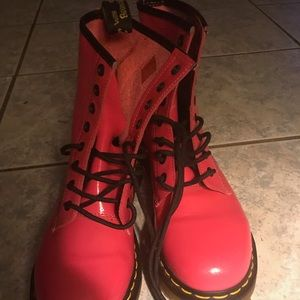 Hot pink perforated dr martens